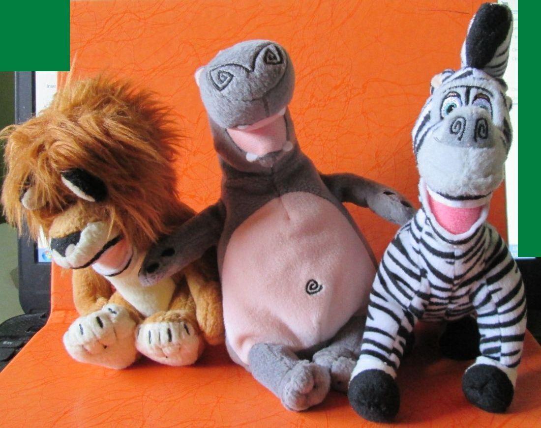 3pcs. TY Beanie Baby MADAGASCAR 2008, Marty, Alex, Gloria, Handmade