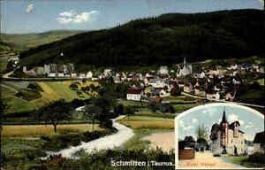 Feldpostkarte-1-Weltkrieg-Stempel-SCHMITTEN-Taunus-mit-Hotel-Wenzel-Feldpost