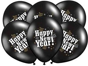 8 Luftballons Silvester silber-schwarz New Year