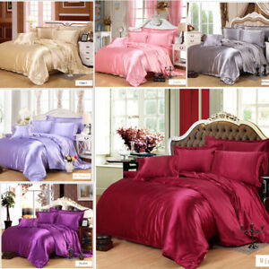 Comfort-Mulberry-Pure-Colors-Silk-Sheet-Quilt-4-Piece-Bed-Sheet-Set-220-240cm