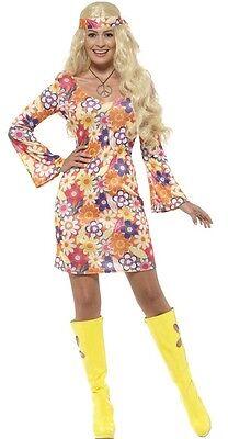 Il Prezzo Più Economico Donna Sexy Fiori Hippy Hippie 60 70s Costume Uk 4-22 Plus Size