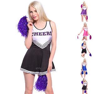 Cheerleader Damen Kostum Uniform Cheerleading Cheer Leader Fasching