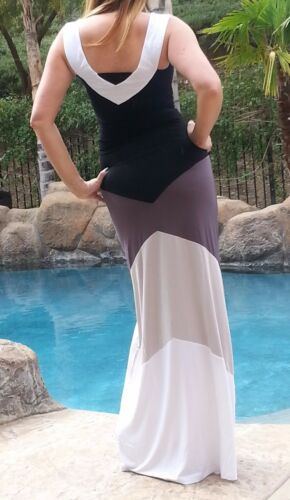 Maya Antonia-PLUS SIZE-V-Color-Block Shades of Grey Maxi Dress,Extra Long