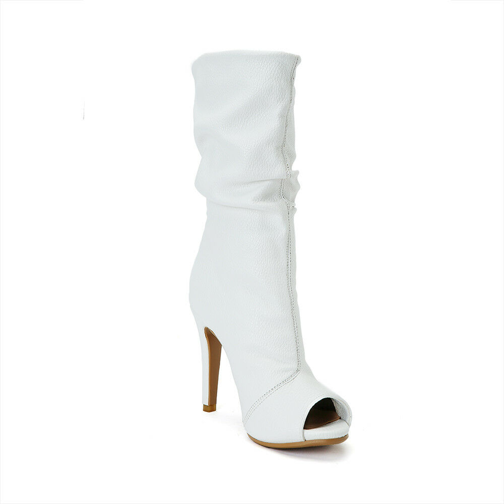 Donna Peep Toe Heels Slim High Heels Toe White Pull On PU Pelle Mid Calf Stivali Shoes a3028d