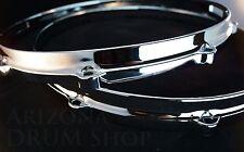 "New Ludwig Die Cast CHROME Snare Drum Hoops PAIR 14"" 8 Ear/Hole/Lug"