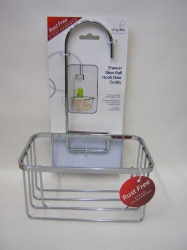 New Croydex Shower Bathroom Tidy Hook Caddy Soap Organiser Chrome Wire QM260441