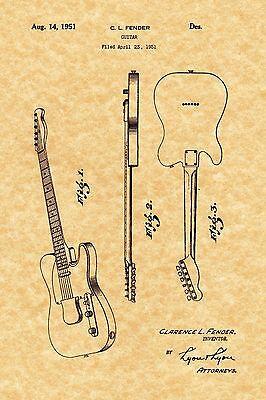 "FENDER 1951 BASS GUITAR POSTER Blueprint Patent Print 18x24/"" Vintage unframed"