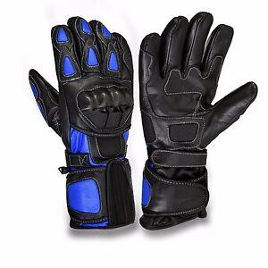 Blue-Black-Motorcycle-Leather-Cowhide-Bikers-Gloves-Motorbike-Winter