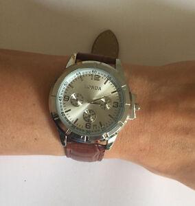 Unisex-Maenneruhr-Damenuhr-Kunstleder-Edelstahl-Sport-analoge-Quarz-Armbanduhr
