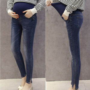 Women-Pregnant-Maternity-Stretch-Solid-Trousers-Belly-Leggings-Jeans-Denim-Pants