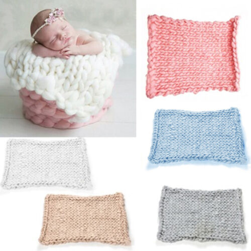 FM/_ QA/_ Knitted Crochet Blanket Mat Baby Newborn Photo Prop Photography Accessor