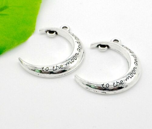 Free 10Pcs Antique Silver I love You To The Moon And Back Moon Charms Pendant