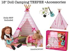 """18"""" Doll Deluxe Camping TEEPEE TENT PLAY-SET Guitar Food +Dishes 4 American Girl"""