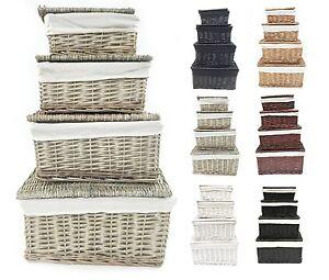 Black-White-Grey-Lidded-Wicker-Storage-Toy-box-Empty-Xmas-Hamper-Basket-Lining