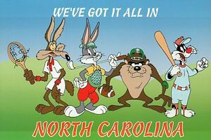 Looney Tunes Postcard Coyote etc - Playing Sports in North Carolina Wile E