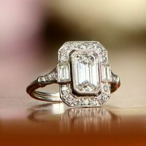 Art-Deco-Antique-1-60-Ct-Emerald-Diamond-Engagement-Ring-14K-White-Gold-Finish