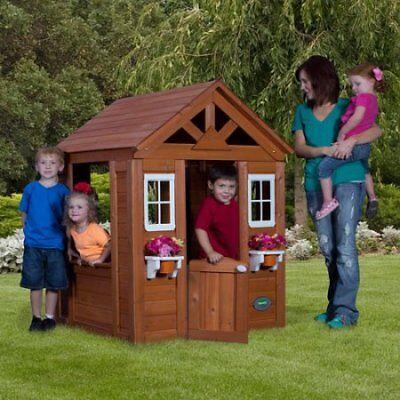 Backyard Discovery Timberlake Cedar Wooden Playhouse W   eBay