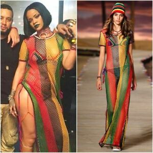 Rihanna-Work-Dress-Rasta-Jamaican-Multicolored-String-Mesh-Maxi-Net-See-Through