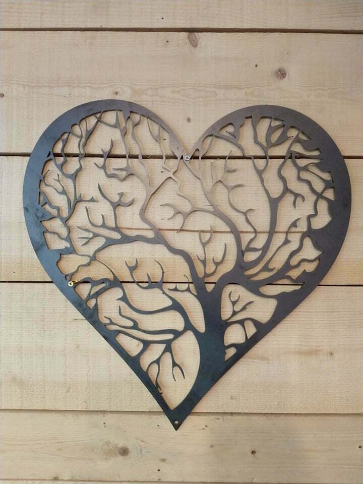 Premium Heart Tree  Metal Sign Wall Art Celtic Raw Steel Hand Finished Gothic