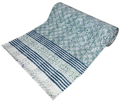 Indian Hand block Print Kantha Quilt Bedspread Reversible Blanket Cotton Gudri