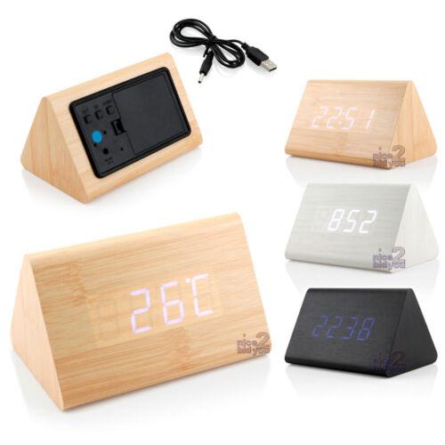 Trendy Triangular White LED Digits Digital Wood Wooden Alarm Clock Thermometer