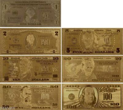 LOT OF 5 24 KARAT  GOLD USA  $2 BILL/_GREEN SEAL/_RIGID PVC BILL HOLDER