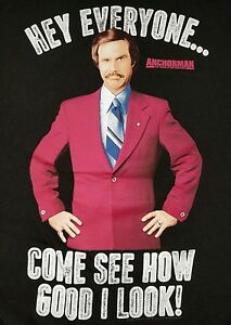ANCHORMAN-RON-BURGUNDY-XL-T-Shirt-WILL-FERRELL-Come-See-How-Good-I-Look-Funny