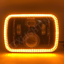 """thumbnail 6 - 1 Pair, Black LED JTX Headlights, 5x7"""", White Halo, Flashes Amber, suits Hilux"""