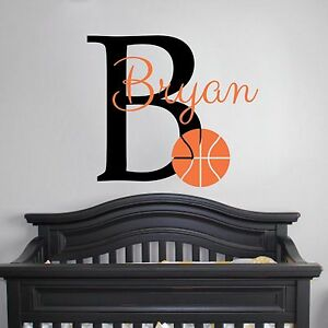 Basketball Monogram Vinyl Wall Decal Nursery Baby Boy Nursery - Monogram vinyl wall decals for boys