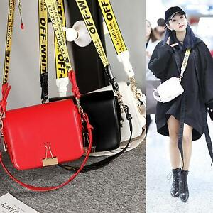 Kpop-Off-White-Womens-Ladies-Black-PU-leather-Handbag-With-Belt-amp-Clip-On-NEW