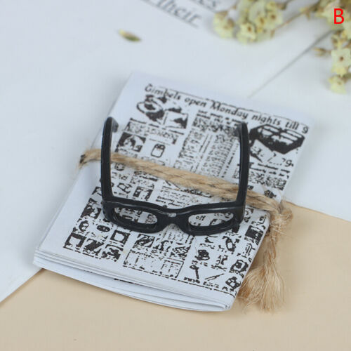 1:12 Dollhouse Miniatures Mini Newspaper Glasses Model Furniture Toy Accessories