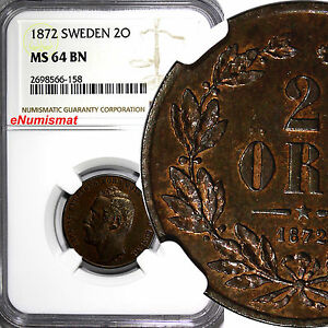 SWEDEN-Bronze-Carl-XV-Adolf-1872-2-ORE-NGC-MS64-RB-Nice-Toned-KM-706