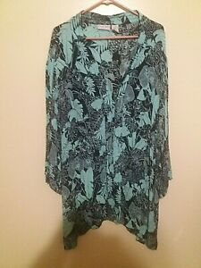 Womens-Jaclyn-Smith-Open-Front-Tunic-Floral-Top-Size-3X