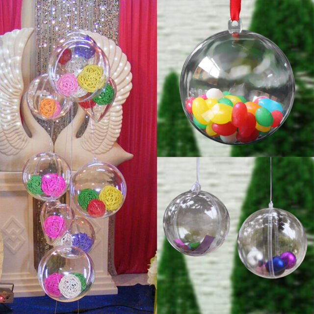 """LOT 2"""" Clear Plastic Ball DIY Christmas Tree Hanging Bauble Decoration Ornament"""