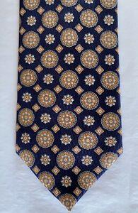 New-Brioni-Mens-Silk-Necktie-Tie-Navy-Orange-Medallions-3-5-X-59