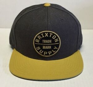 53c2f2be7fdec Image is loading BRIXTON-OATH-III-SNAPBACK-CHARCOAL-GOLD