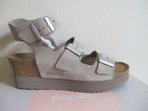 19f95390a0e Image is loading NEW-Birkenstock-Papillio-Linnea-Leather-Platform-Sandals- Suede-
