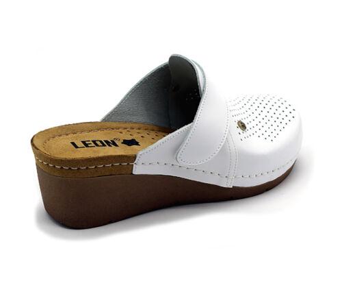 Neu Slip Hausschuhe Clogs Leder Leon 1001 Pantoletten Damen Damen On SandalenWeiß SUpzMVqG