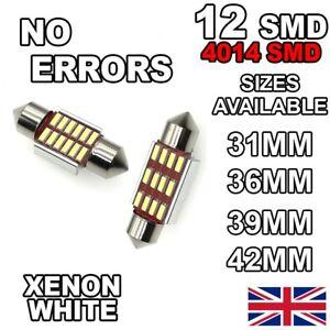 C5W Car Bulb LED ERROR FREE CANBUS COB Xenon White Festoon Number Plate Interior