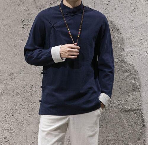 Mens Cotton Linen Chinese Retro Slim Casual Shirts Long Sleeve Tops Coats J158