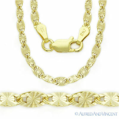 3MM 925 Sterling Silver 14k Yellow Gold Valentino Link Italian Chain Necklace