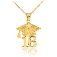 14k Solid Gold 2016 Class Graduation Pendant Necklace