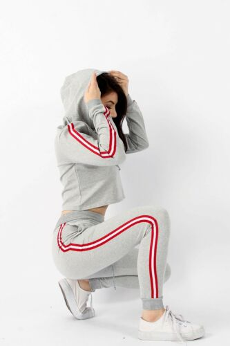 Ladies Striped Crop Top Sweatshirt Joggers Set Lounge Tracksuit Grey Red 5139