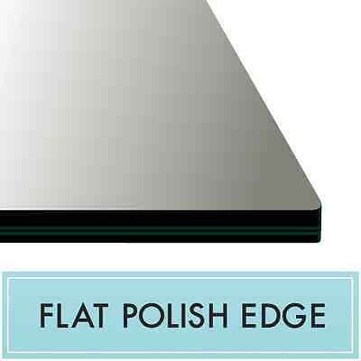 """36"""" x 60"""" Inch Rectangle Clear Tempered Glass Table Top 1/2"""" - Flat Edge -Radius"""