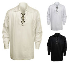 Scottish Highland Jacobite Jacobean Ghillie Kilt Shirt 3 Colors Fashion