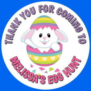 Easter Bunny Egg Hunt Stickers Gloss Quality Personalised With Any Text Ebay