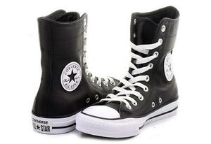 Details about Converse Black Leather Hi-Rise 9-Eye Ankle Calf Boots / Shoes Wms 5 NWOT DISC