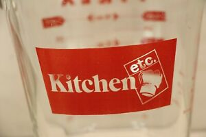 Rare Kitchen etc Branded Pyrex Corning Glass Red 2 Cup Measuring Cooking Baking