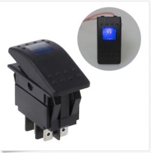 4-Pin-12V-20A-Bar-Rocker-Toggle-Switch-LED-Light-Car-Boat-Waterproof-BLUE