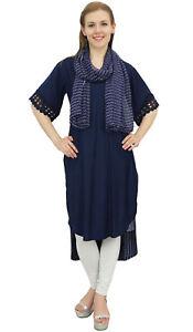 online retailer the best attitude get cheap Détails sur Bimba femmes Designer Bleu marine Haut Bas droite Kurti Robe  imprimé foulard